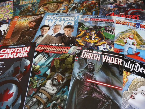 "Free Comic Book Day 2015 in Toronto: Die ""Ausbeute"" kann sich diesmal wirklich sehen lassen: Captain Canuck, Doctor Who, the Avengers, sogar Darth Vader war am Start."