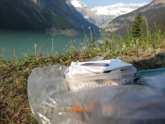 Geocache am Lake Louise in Alberta.