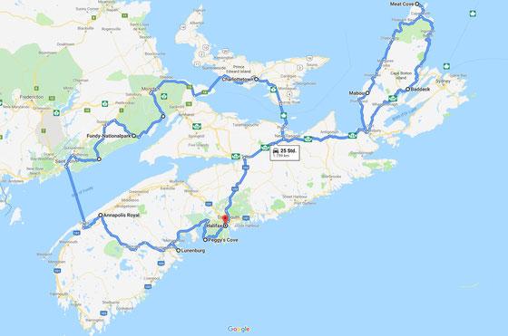 Urlaub in den Maritimes: Karte meiner Tour durch Nova Scotia, Prince Edward Island und den Süden von New Brunswick.