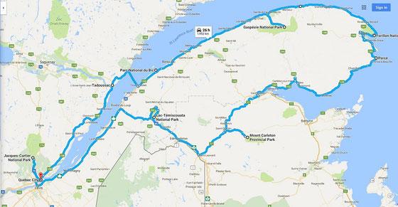 Urlaub in Quebec und New Brunswick: Die Reiseroute führte rund um die Gaspesie-Halbinsel.