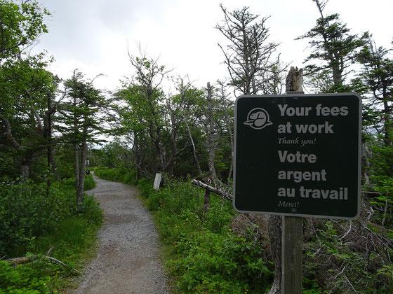 Nette Geste am Wanderweg zum Western Brook Pond: Die Parkverwaltung des Gros Morne Nationalparks bedankt sich bei den Gebührenzahlern.