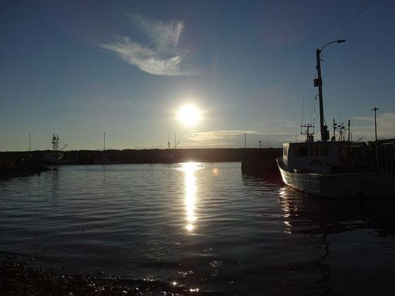 Abendstimmung im Fischereihafen von Cheticamp in Nova Scotia.