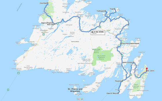 Urlaub in Neufundland: Meine Tourstrecke auf der Karte.