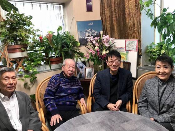 ☆右端今井通子先生。 左側兜山実行委員長、長谷川特別講演会責任者、左端は山根。