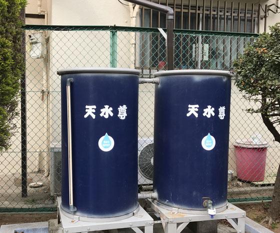 ☆墨田区向島 てらじま広場の「天水尊」。雨水のタンク。