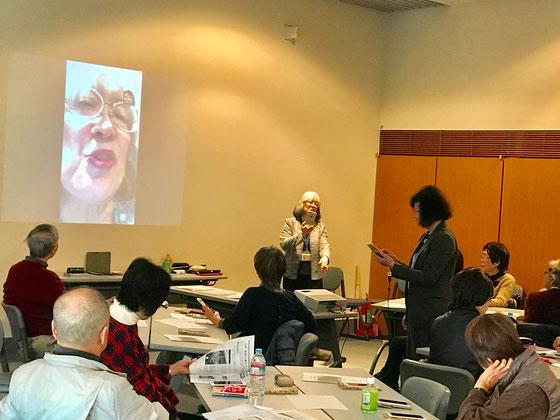 ☆写真は主催者の特定非営利活動法人和光まちづくりNPOセンター小倉様(右側の女性)と案内役の佐藤弥子さんのFaceTime状況。