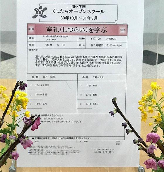 ☆講座案内のチラシによると、「室礼(しつらい)とは、日本に古くから伝わる年中行事や季節の行事の意味を学び、暮らしに取り入れることです。」とありました。「七五三 冬至 正月 節分 雛祭り 花祭り」