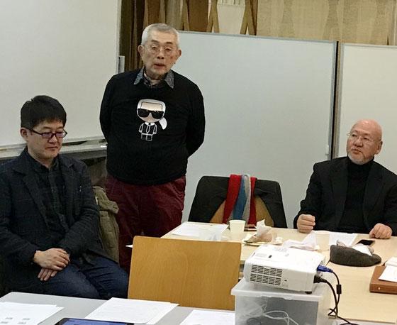 ☆昨年末ご入会の三名様。左から深野暁雄さん、神崎公伸さん、寒田寛(ソウダヒロシ)さん。