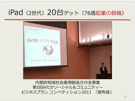 ☆山根が76歳で起業した契機となった、2011年の内閣府のビジネスコンペ風景。iPad(2世代)20台ゲット。