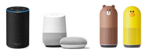 ☆スマートスピーカー。左からAmazon、Google、LINE。
