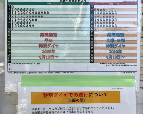 ☆武蔵小金井駅行きのバスの運行が午前と午後とは道順が異なります。午前中のダイヤ。