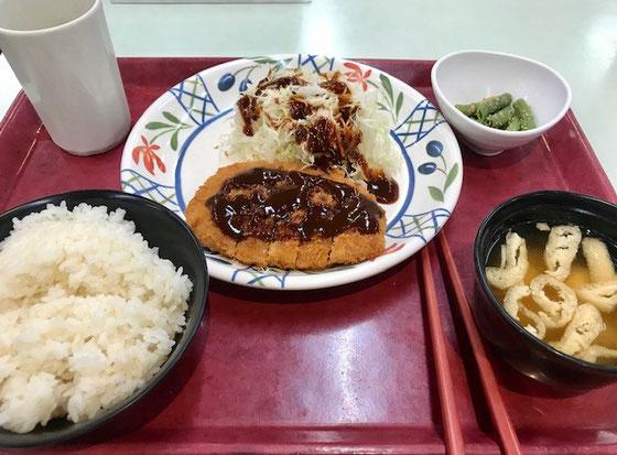 ☆2件が終わったところで少し早い昼食。11:10。世田谷区役所第一庁舎地下食堂。C定食(トンカツ定食)580円也、味はまずまず。