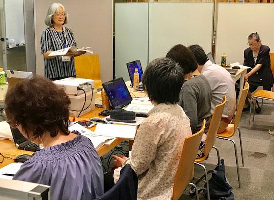 ☆その後11:00から佐藤弥子さんが第七講義「活用方法を考えよう」と第四講義「講義案を作成しよう」を行いました。
