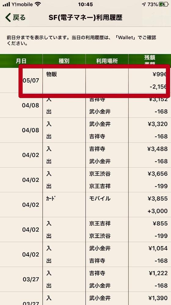 ☆5月7日に「物販」2,156円。最近1~2か月はほとんど交通費。