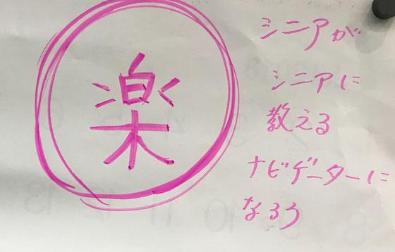 ☆世話役のお一人Yumiko Takamuraさんの思いのこもった白板に貼られていたメッセージ。キーワードは「楽」。
