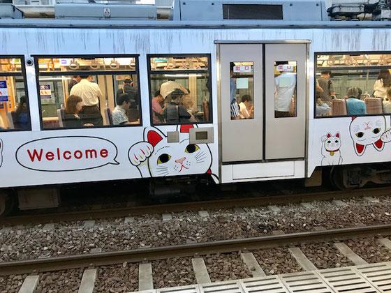 ☆帰途世田谷線松陰神社前駅で見かけた猫電車。