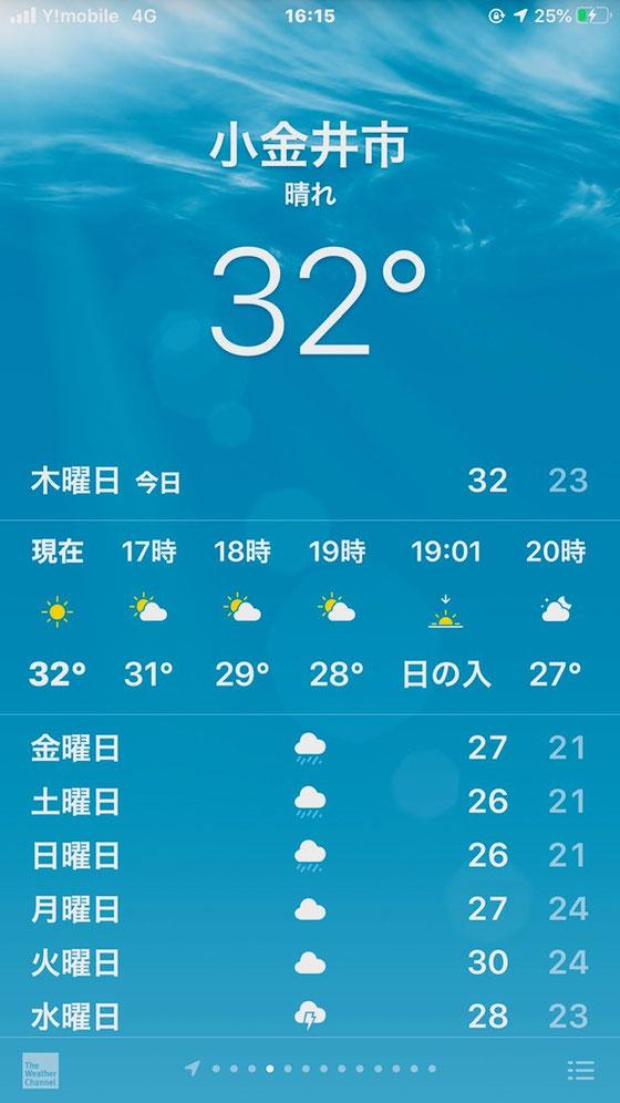 ☆帰途武蔵小金井駅前でまだ32度も。