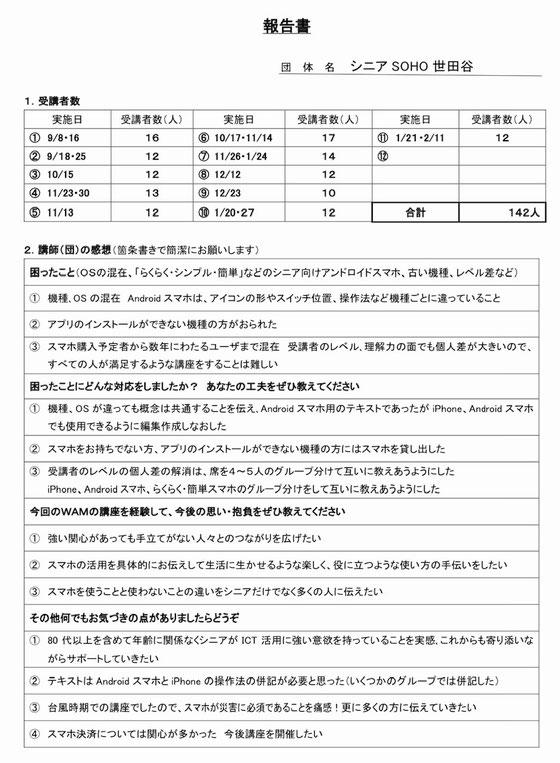 ☆シニアSOHO世田谷の報告書の部分(2ぺージの1ページ目)。