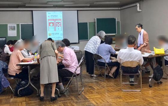 ☆昨日のスマホ講座(iPhone)風景。サブには生田美子とわがマドンナ坂部禮さん。