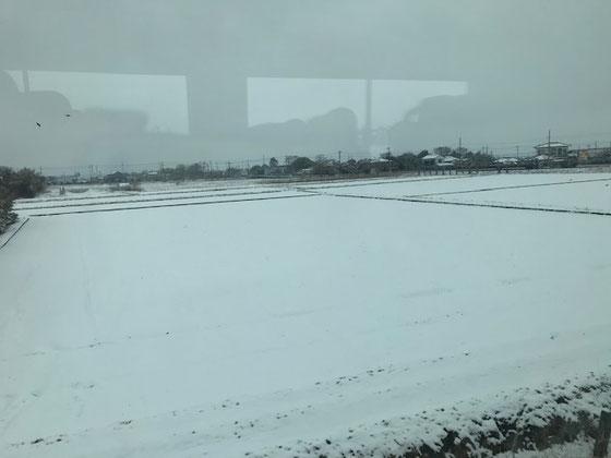 ☆天気予報で雪が心配されましたが問題なし。常磐線取手市付近の車窓風景、12:26。前夜の雪。