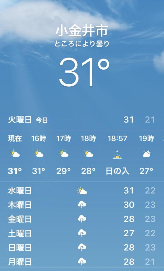 ☆真夏日の31℃。