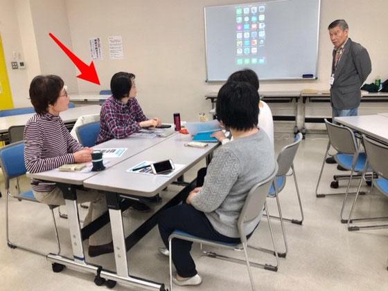 ☆午前の部:アイフォン初心者講座。矢印の方が「先生アイフォン買い換えました。主人と二人だったので5時間かかりました。まだ設定が全部済んでいません」とご報告。