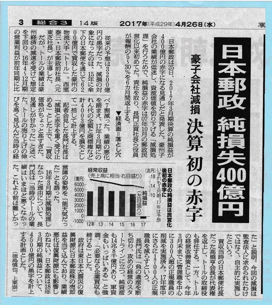 ☆4月26日付朝日新聞朝刊より。