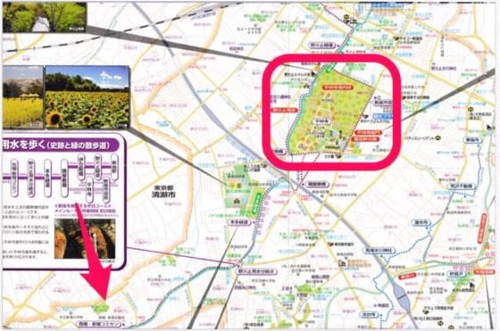 ☆赤い矢印が西堀・新堀故ミニティーセンターの所在地。