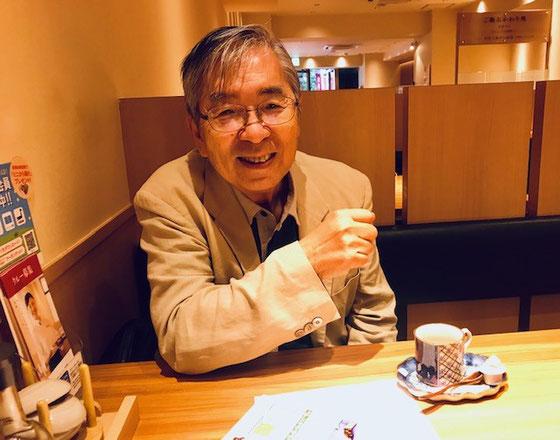 ☆午後のアンドロイドスマホ講座の見学にお見えのシニアネット水戸の森田代表様。SEKIYAビルの対面のやよい軒で情報交換。