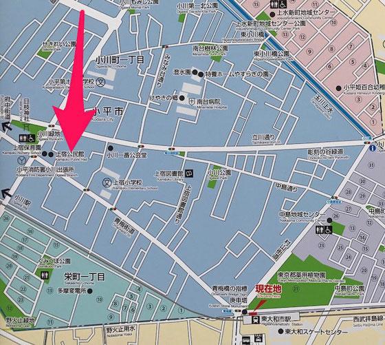 ☆西武拝島線東大和市駅南口の案内地図。