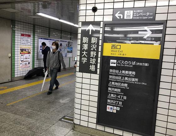 ☆雨で写真を撮影する気持ちの余裕がなく帰途駒沢大学駅でやっと1枚撮影。
