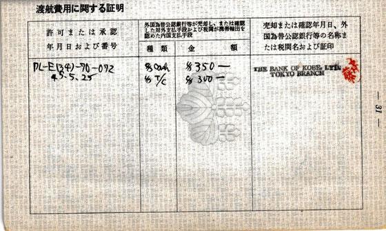 ☆現金350ドル、チェック300ドル。360円換算で¥234,000円。50年前なので少ないか多いいかわかりません。
