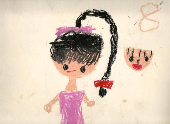 保育園の頃(?)の絵 私もやっぱりピンクが好きだったんだなぁ・・・