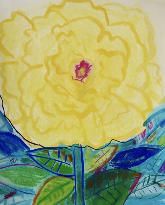 芍薬・黄 (Yellow Peony) Acryla gouache and pastels on paper 500mm x 600mm   2018 ©︎ Hanae Tanazawa