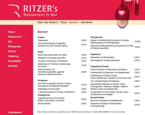 Webseite: Ritzer's Restaurant und Bar