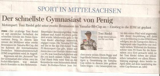 Freie Presse, Gymnasium Penig, Penig, Rochlitz, Yamaha R6 Cup, Toni Riedel, schnellster Gymnasiast