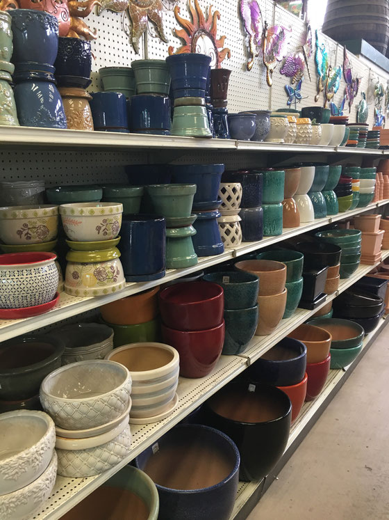 Our ceramic and terra cotta pots on display.