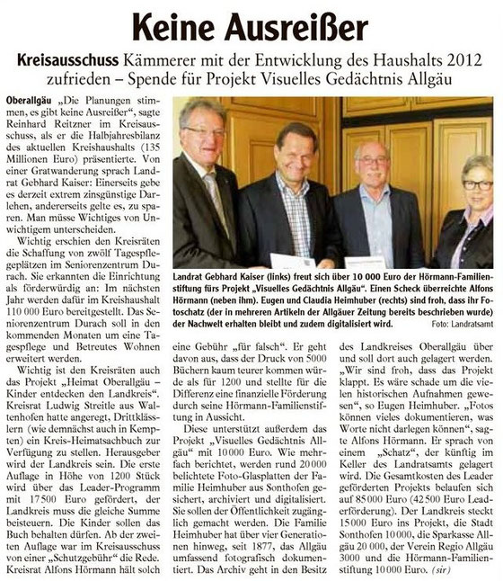 Allgäuer Zeitung vom 14. Juli 2012