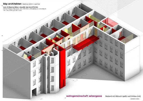 Wohngemeinschaft Selzergasse - Bestand mit Abbruch (in gelb) und Umbau (in rot)