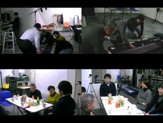 上段/要領を得て、それぞれ役割分担をしてスムーズな撮影に。 下段/カメラマン中村氏と皆で談笑