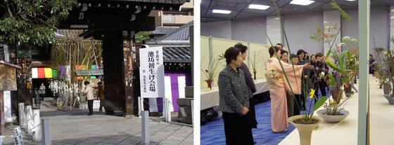 (左)初生け式会場の六角堂入り口(右)ご巡視中の池坊由佳様