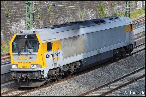 264 010-0 (SGL V500.17) fährt als Lz am 24. Mai 2015 auf Chemnitz Hbf. zu