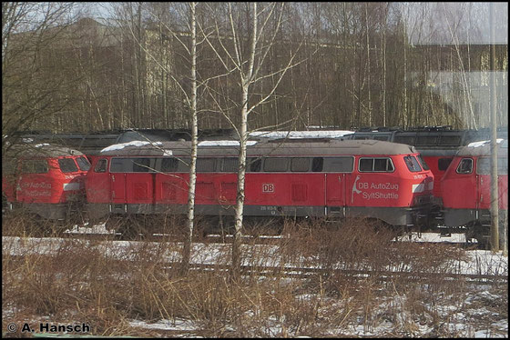 215 913-5 ist eine von mehreren Loks ihrer Baureihe, die im AW Chemnitz z-gestellt sind. Sie war zuletzt als Sylt Shuttle für DB Autozug im Einsatz. Am 23. März 2013 entstand dieses Bild