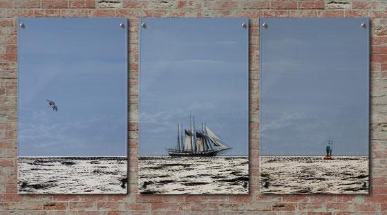 """Frank Haase - Triptychon """"Cuxhaven Fahrrinne"""""""
