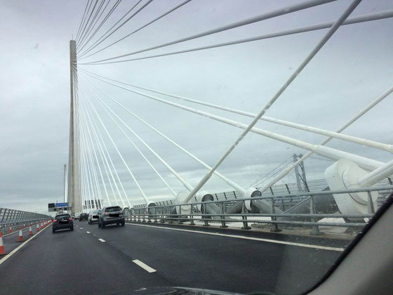 The new Queensferry Crossing spanning the Firth of Forth