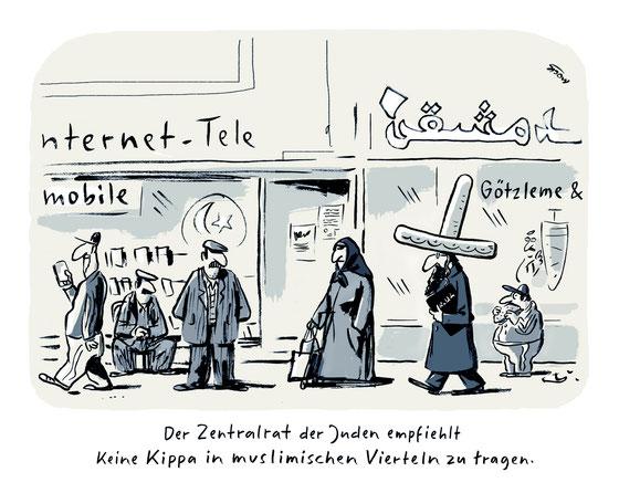 Cartoon von Mock zum Thema Antisemitismus
