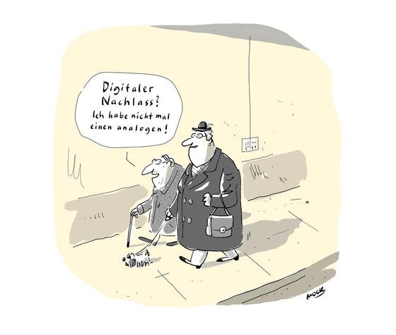 Cartoon von Mock zum Thema Digitaler Nachlass