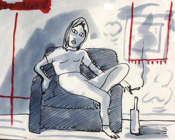 """""""nach der party"""" heisst diese schnelle Skizze die zu den freien arbeiten des berliner zeichners und absolventen der udk niels-schroeder zählt. die freien arbeiten sind mittel des spontanen ausdrucks."""