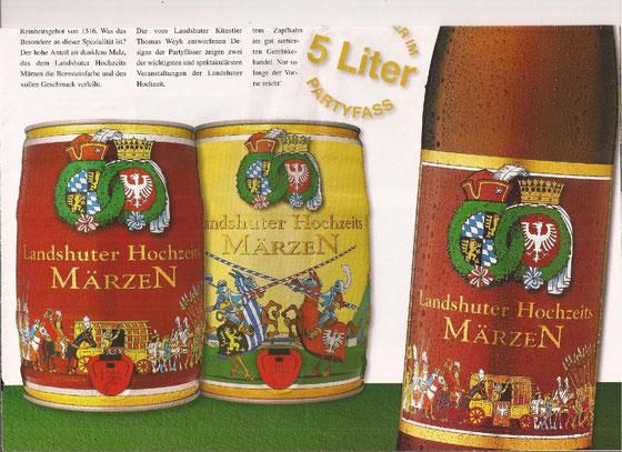 """Bierflaschen-Etikett und Partyfässer, Brauerei Wittmann Landshut, Sonderedition zur """"Landshuter Hochzeit""""."""