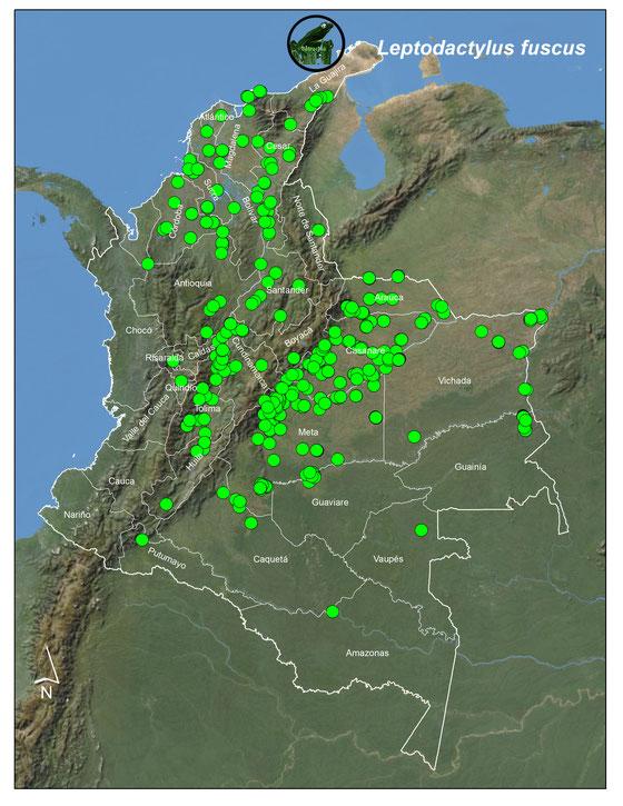 Lista y Mapas de los Anfibios de Colombia